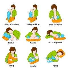 Poses for breastfeeding woman breastfeeding a vector