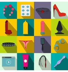 Sex shop icons set flat style vector