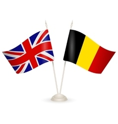 Table stand with flags of england and belgium vector