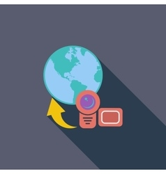 Upload video flat icon vector