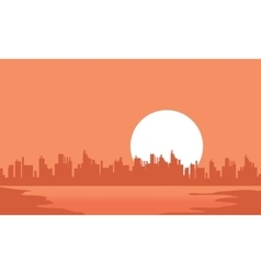 City and moon scenery silhouettes vector
