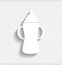 baby bottle sign white icon with soft vector image vector image