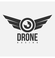 Black and white drone racing logo vector