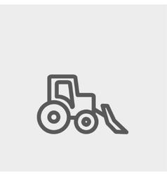 Bulldozer thin line icon vector