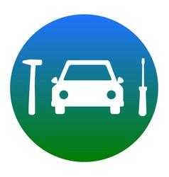 Car tire repair service sign white icon vector