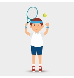 Cartoon man player tennis racket ball vector