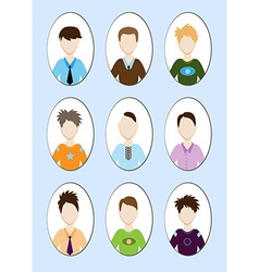 Cartoon of a handsome young man with various hair vector image vector image
