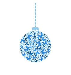 christmas tree ball from blue butterflies vector image