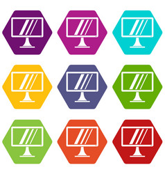 Computer monitor icon set color hexahedron vector