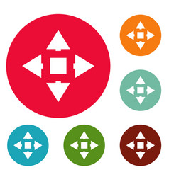 cursor displacement icons circle set vector image vector image