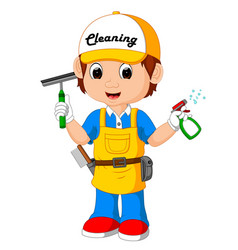 cute cleaning boy vector image