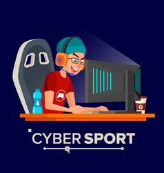 Cyber sport player sitting at the table vector