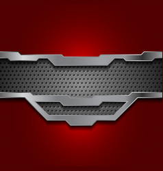dark red and perforated metallic technology vector image vector image