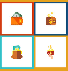 icon flat billfold set of pouch purse payment vector image vector image
