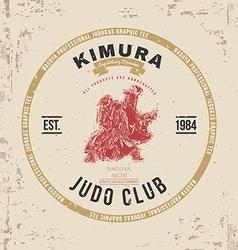Judo club t-shirt print design vector