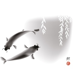 Koi carps and willow vector image vector image