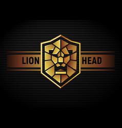 Lion head shield logo vector