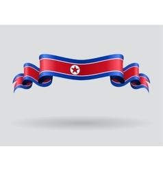 North Korean wavy flag vector image vector image