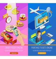 Online shopping e-commerce isometric banners vector
