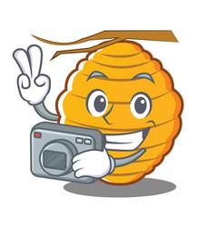 Photography bee hive character cartoon vector