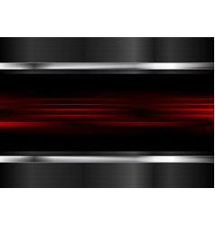 Red glowing stripes and metallic background vector