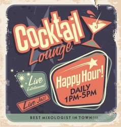 Retro poster design for cocktail lounge vector image