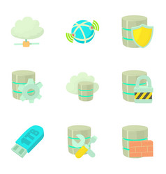 safe storage icons set cartoon style vector image vector image