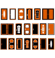 set isolated doors silhouette vector image