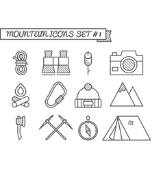 Set of Camping travel icons thin line style vector image
