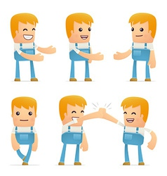 set of mechanic character in different poses vector image vector image
