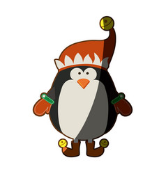 Silhouette of penguin with boots and gloves and vector