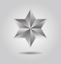 silver abstract 3d six pointed star icon on gray vector image vector image