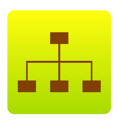 site map sign brown icon at green-yellow vector image