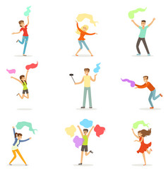 smiling people dancing with shawl set for label vector image vector image