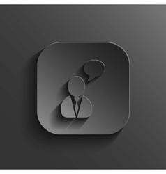 Speech icon - black app button vector image vector image