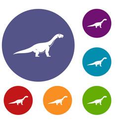 titanosaurus dinosaur icons set vector image
