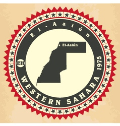 Vintage label-sticker cards of western sahara vector