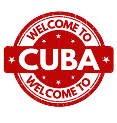 welcome to cuba sign or stamp vector image