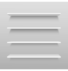 White Empty Shelf Shelves Isolated on Wall vector image