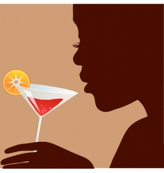 woman with cocktail vector image