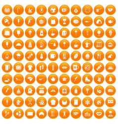 100 coffee icons set orange vector