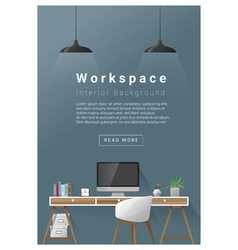 Interior design modern workspace banner 3 vector
