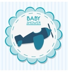 Airplane of baby shower card design vector