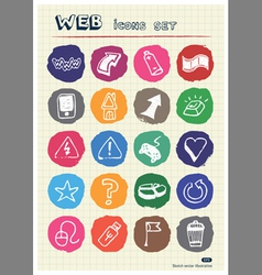 Internet and media icons set drawn by chalk vector