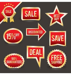 Red and gold foiled sale labels and badges vector