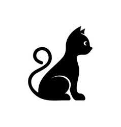 Cute black cat icon vector