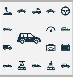 Auto icons set collection of stick convertible vector