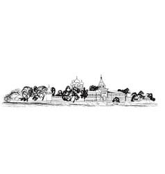 Old russian city landscape kostroma kremlin vector