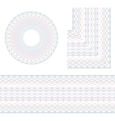 Guilloche rosette and border vector