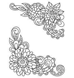 Corner vignettes with line flowers for adult vector